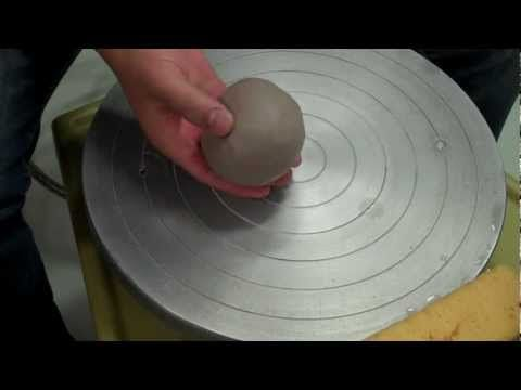 Lesson one - How to center clay on a pottery wheel - YouTube