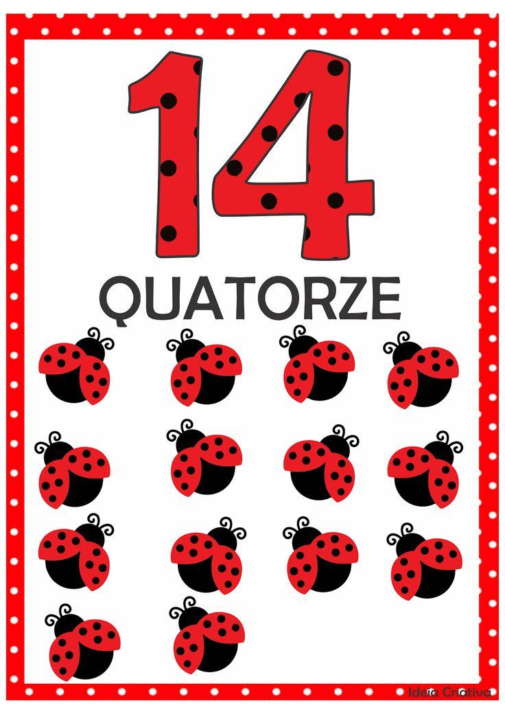 Numerais Joaninha para Imprimir Grátis