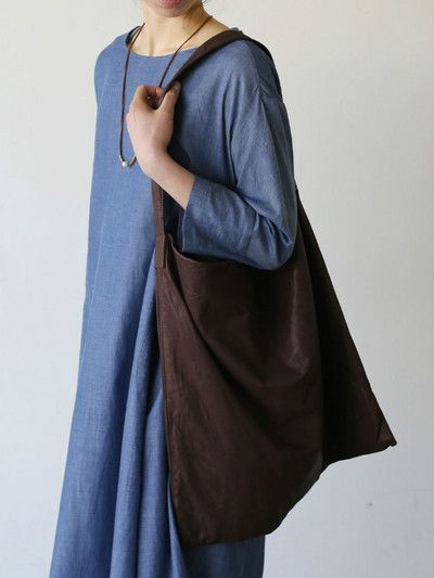 Big tuck dress~cotton ramie twill dungaree 1