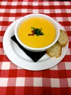 beer & cheese soup – schlafly pi common, wisconsin cheddar, bacon.