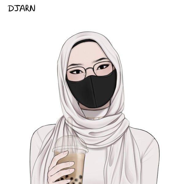 Cuople Kartun Hijab Ilustrasi Karakter Gadis Animasi Cool veiled woman wallpaper