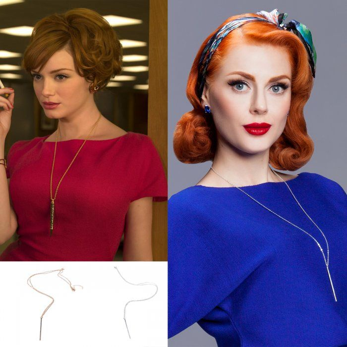 Joan Holloway's inspired necklace by VON 50'. Available in golden and silvery at von50.com #madmen