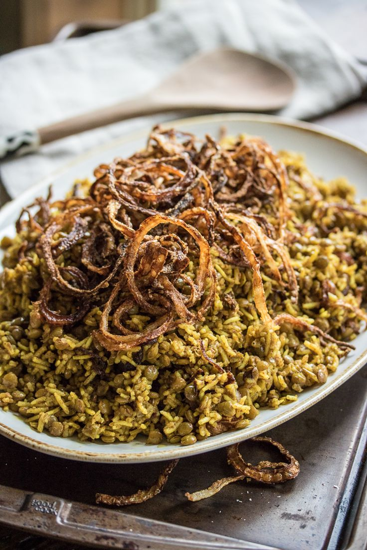 Humble lentils and rice are seasoned with warm spices and fried onions in this classic Mejadra recipe!