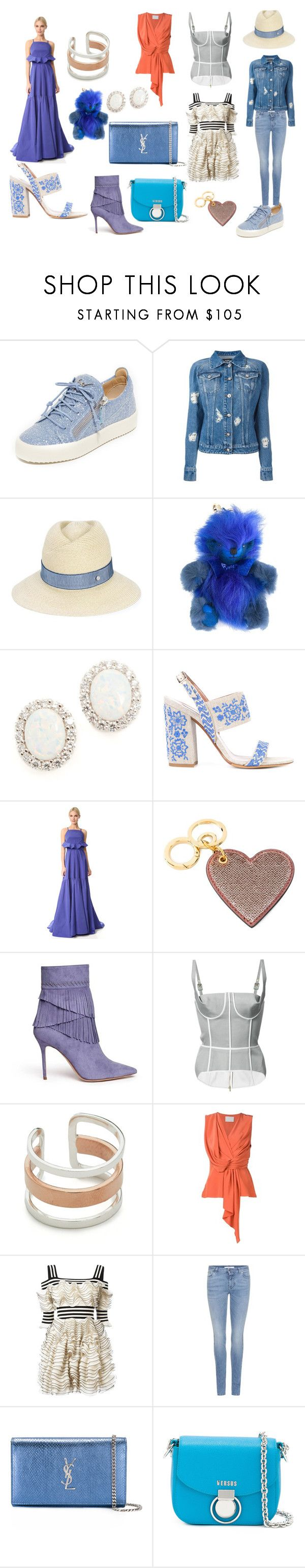 """chambray fashion"" by racheal-taylor on Polyvore featuring Giuseppe Zanotti, Versus, Maison Michel, Burberry, Kenneth Jay Lane, Tabitha Simmons, Lela Rose, Aperlaï, Thom Browne and Maya Magal"