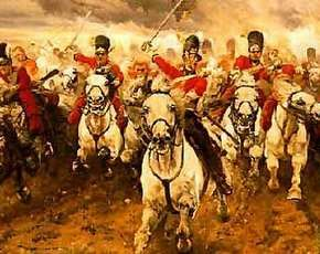 Dit plaatje gaat over de slag bij Waterloo. Een hele belangrijke gebeurtenis in zowel de Nederlandse als de Franse periode. Hier op het plaatje zie je dat de ruiters paraat zijn om te strijden voor hun land. En de strijd tegen de vijand aan te willen gaan. Ook de kleuren helpen daarbij mee, vooral de wolken.