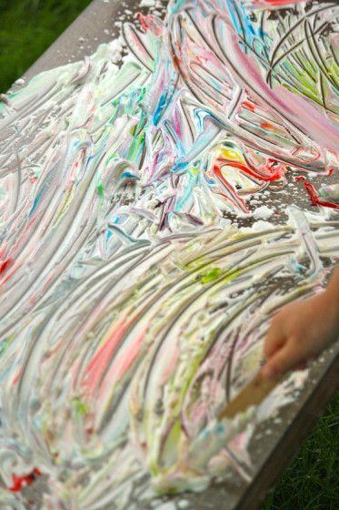 sensory art for kids - happy hooligans - shaving cream and food colour