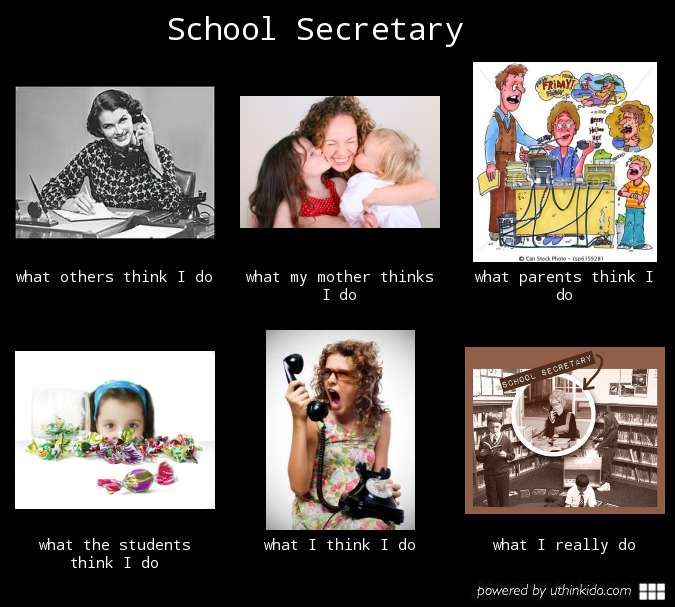 School secretary, What people think I do, What I really do ...