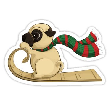 Sledding Pug Stickers by AnMGoug on Redbubble. #Winter #sledding #sled #pug #sticker