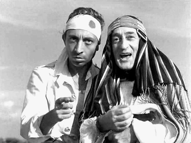 """Aroldo Tieri and Totò (Antonio De Curtis) in Mario Mattoli's """"Totò sceicco"""" (Italian title: """"Totò Sheik"""", 1950)."""