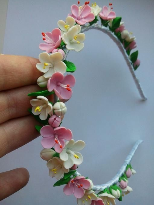 DIY clay flower headband by Jersica