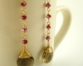 Dangle, Teardrop, Gold, Red, Smokey Quartz Earrings - 14 kt Gold Fill, Red Crystal, Quartz - $52