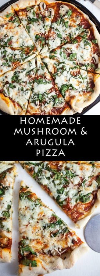 Homemade Mushroom and Arugula Pizza | A fresh and flavorful homemade pizza recipe that's topped with earthy mushrooms and zesty arugula then finished with Romano cheese and Italian spices.