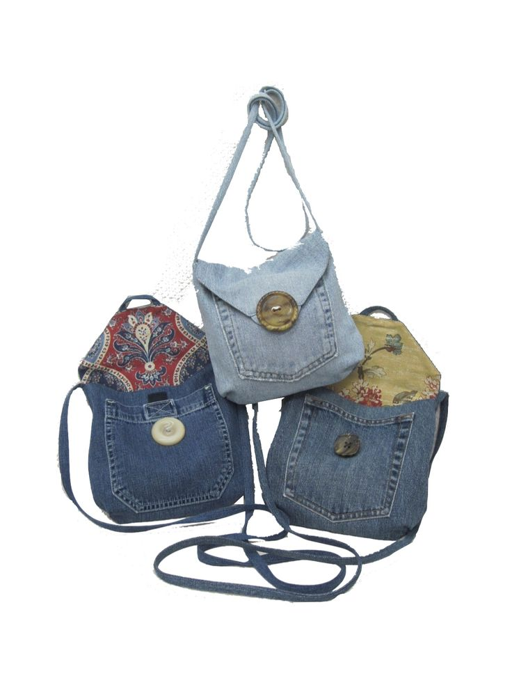 Upcycle jeans and make small shoulder denim bags