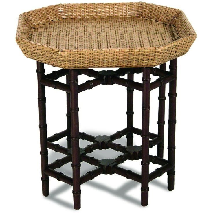 Bamboo And Wicker End Table