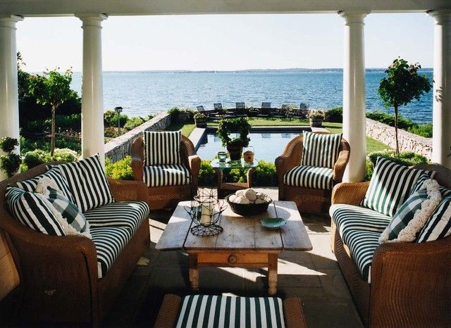 hampton bay patio furniture Porch Beach with coastal columns framed view outdoor cushions patio furniture striped