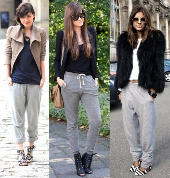 Love the look in the middle; neat black blazer and shirt with grey track pants