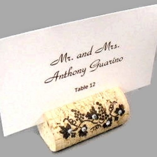 escort card holders set of 10 wine cork place card holders with crystals item