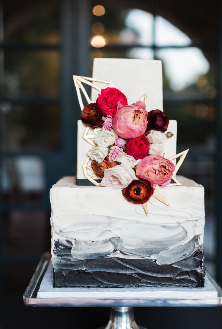 Water colored geometric wedding cake by Sugar Bee Sweets Bakery  See more here: http://sugarbeesweets.com/custom-wedding-cakes/