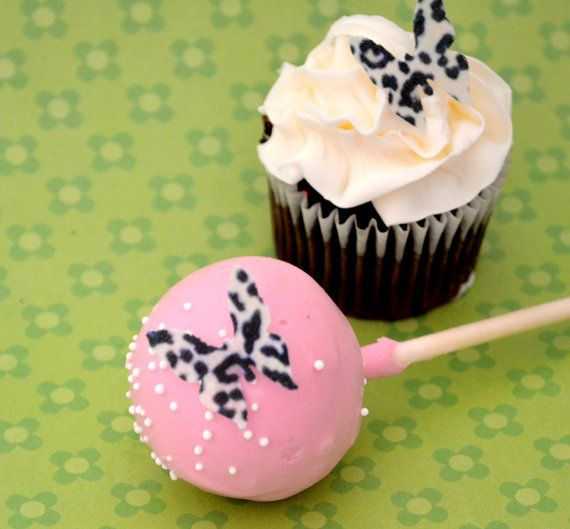 Edible mini butterflies leopard print 2 dozen cake for Animal print edible cake decoration
