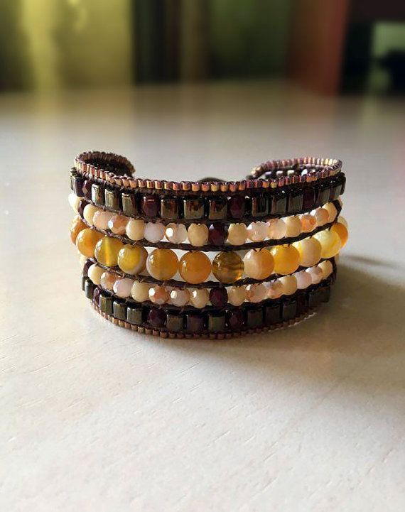 Brown and yellow mix Cuff Bracelet