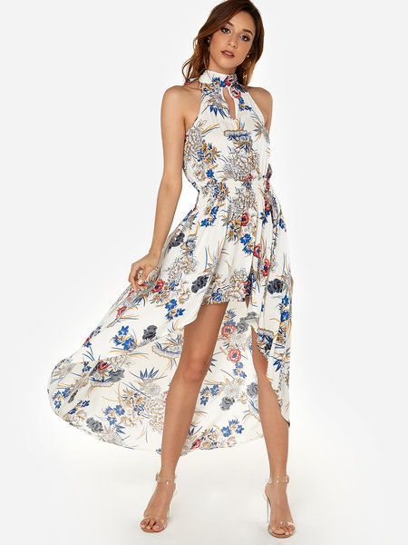 773ab3366a White Random Floral Print Halter Sleeveless High-low Hem Maxi Dress ...