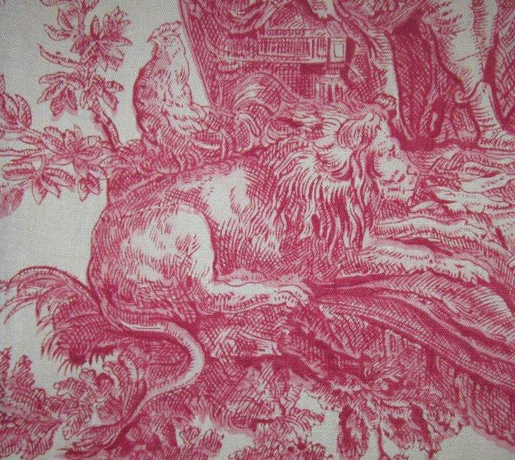 Antique Red Toile Fabric Pinch Pleat Lined Drape Curtain