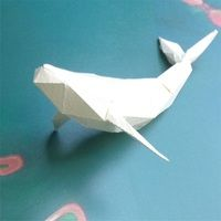 ザトウクジラのローポリゴン風ペーパークラフト(無料型紙)