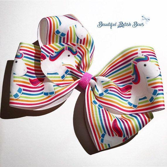 Extra large unicorn boutique bow ribbon 8 inch jojo bow