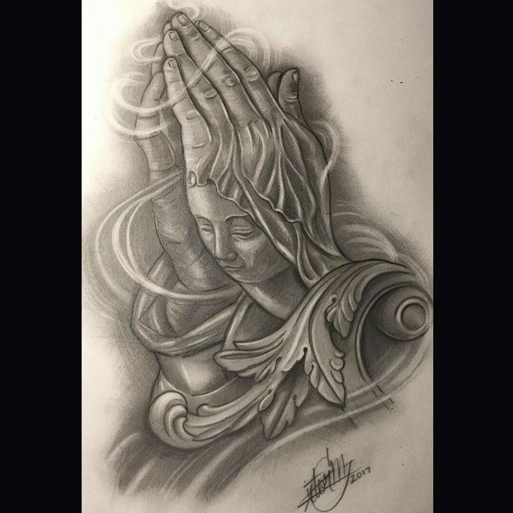Custom praying hands design available for tattoo, book your appointment message me or text (562)607-8189