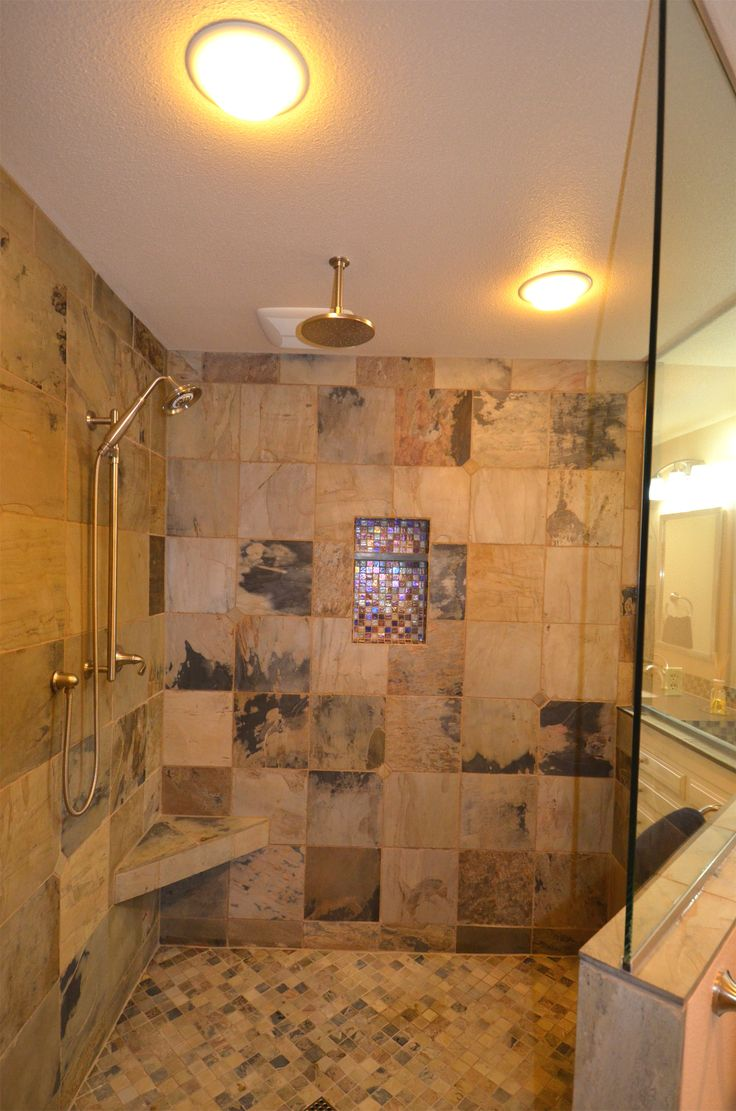 Walk-In Shower with Rain Head | Doorless shower design ...