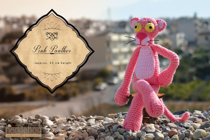 "Pink Panther amigurumi crochet toy, great for birthday gift or baby shower. Created by ""Hedgehog - Amigurumi & Crafts""."