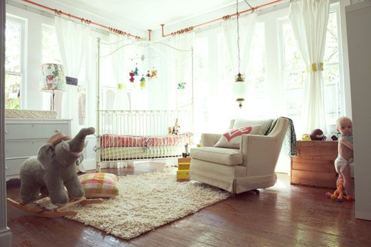 baby nursery, love the curtain rods