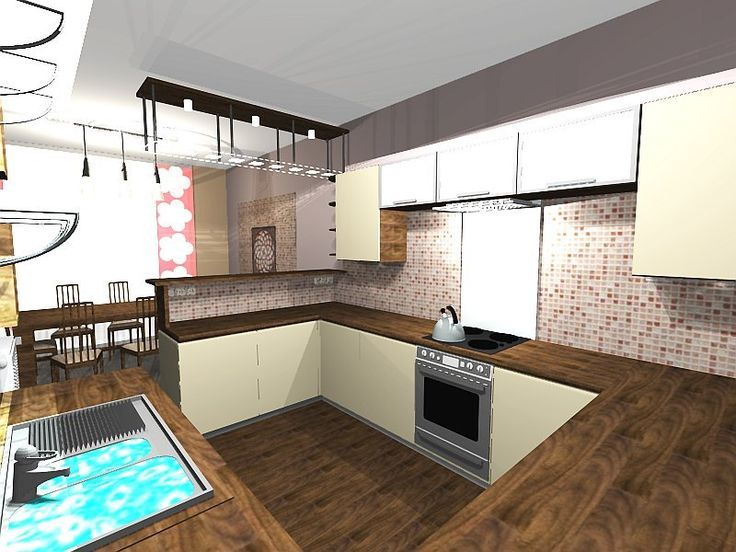 L-alakú konyha, étkező lakberendezése  / L-shaped kitchen and dining Furnishings