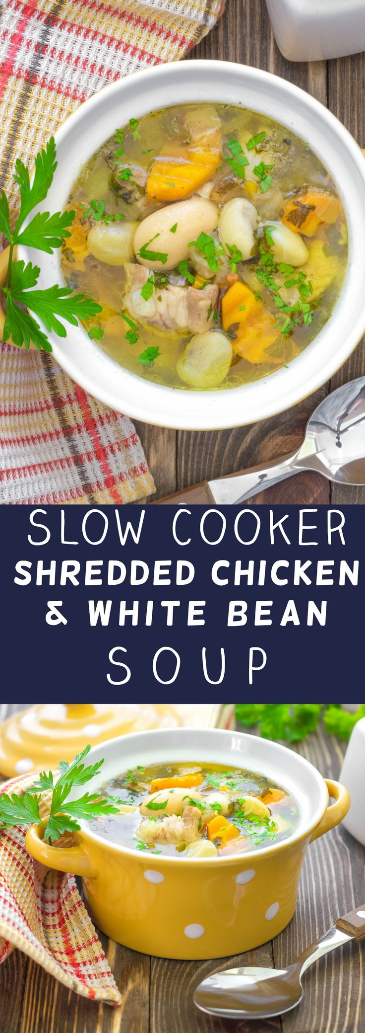 Slow Cooker Shredded Chicken and White Bean Soup is packed with healthy, hearty vegetables which is going to warm up your dinner table! This recipe is easy to make - throw all the ingredients in your crock pot for 8 hours and it's ready! Even better - this meal is economical and doesn't cost much to make!