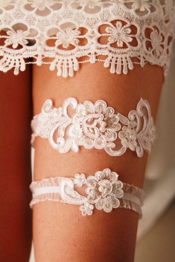 Wedding Garter Bridal Garter Ivory Lace Garter Set  by NAFEstudio