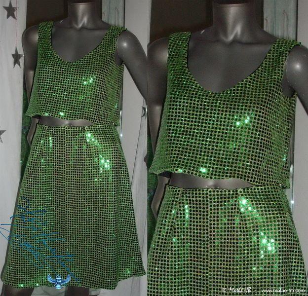 Robes, jupe & top vert paillettes strass soirée nu... est une création orginale de Mathe-HB sur DaWanda