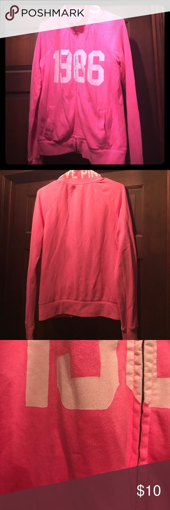 💋Victoria's Secret Pink zip up💋 Neon pink Victoria's Secret Pink zip up crew sweatshirt size S in good condition one tiny tiny fabric pull seen in last pic under the 9 can't tell unless trying otherwise perfect PINK Victoria's Secret Tops Sweatshirts & Hoodies