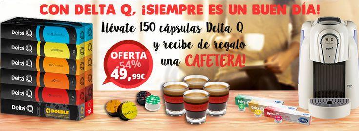 Pack de 150 cápsulas Delta Q (café, te e infusiones) y recibe de regalo una cafetera automática