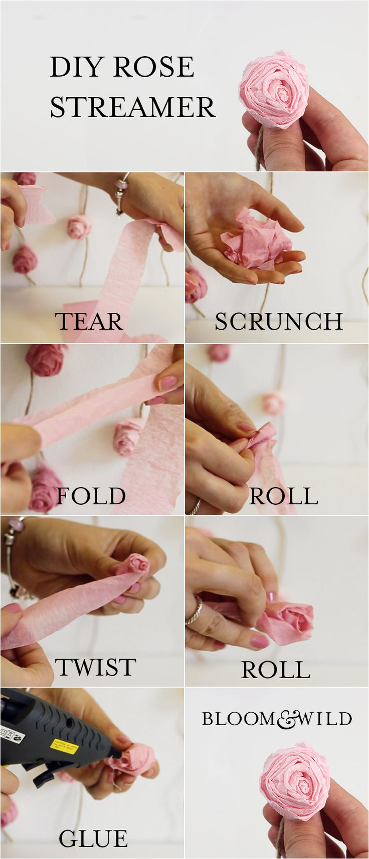 Our DIY How to tutorial on how to make a paper rose streamer from Bloom & Wild