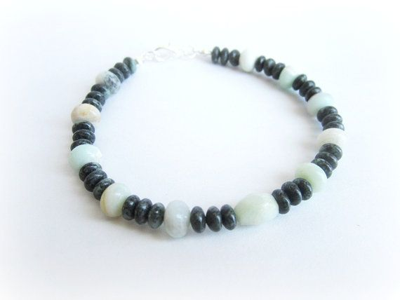 Mens gemstone beaded bracelet mens amazonite by Bravemenjewelry