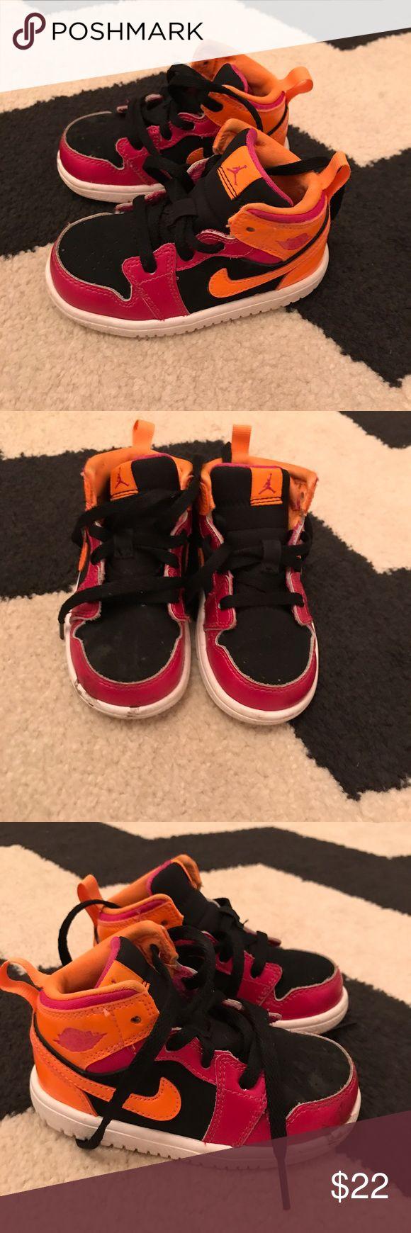 🍼 Toddler Air Jordan Hightop Sneakers sz 6 🍼 Super cute, Nike Air Jordan Toddler Hightop Sneakers. Size 6 Pink Orange Neon Nike Shoes Sneakers