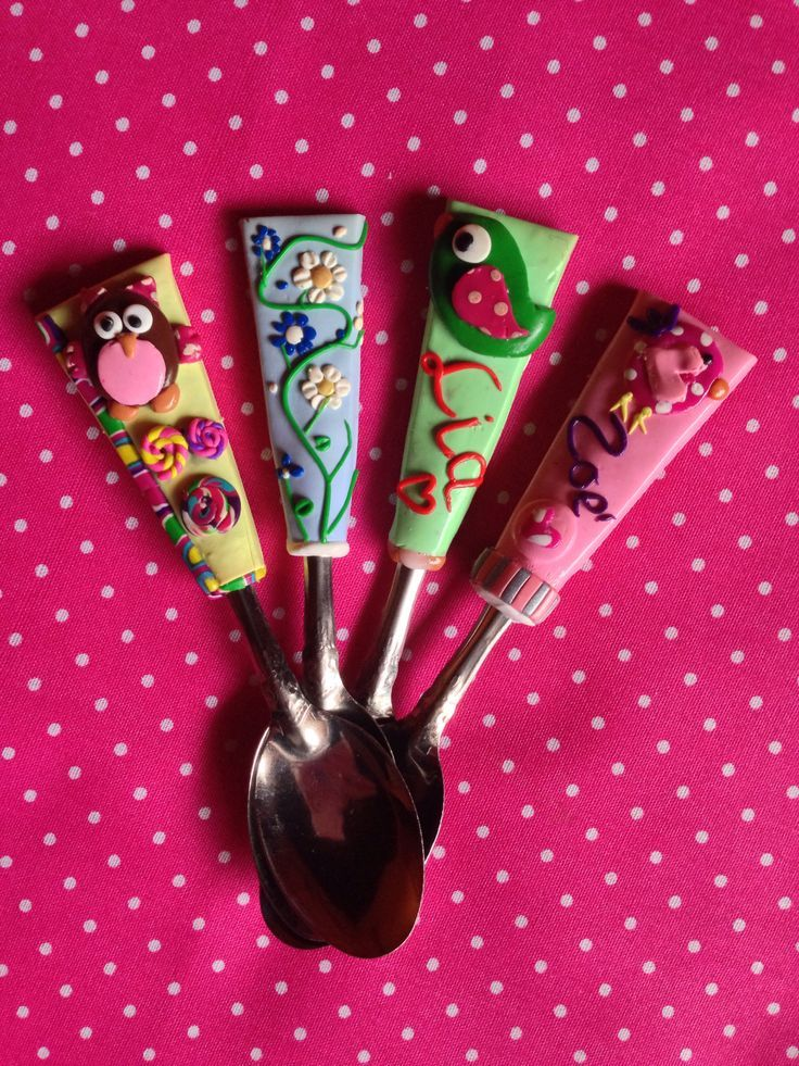 Polymer clay spoon | Polymer clay spoons cutleries | Pinterest