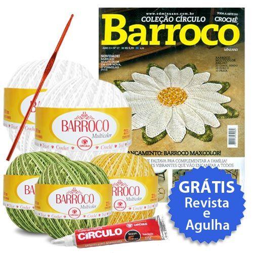 Kit Receita Barroco edição nº17 (Grátis Revista e Agulha) Confira: http://www.tricolinhas.com.br/artesanato/croche/kit-croche/kit-receita-barroco-edic-o-n17-gratis-revista-e-agulha.html