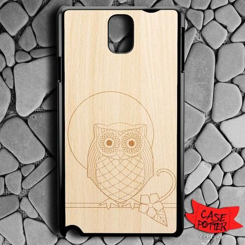 Owl Wood Texture Samsung Galaxy Note 3 Black Case