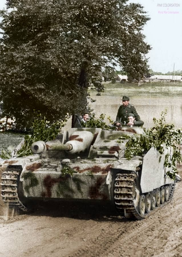 Stug III in Russia. As you can see there is a zimmerit on this Stug. Zimmerit was a paste-like coating used on mid- and late-war German armored fighting vehicles during World War II