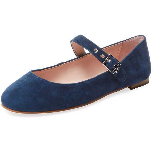 Avec Les Filles Women's Renee Suede Mary Jane Flat - Dark Blue/Navy,... ($59) ❤ liked on Polyvore featuring shoes, flats, flat shoes, navy blue flats, navy suede shoes, suede shoes and navy flat shoes