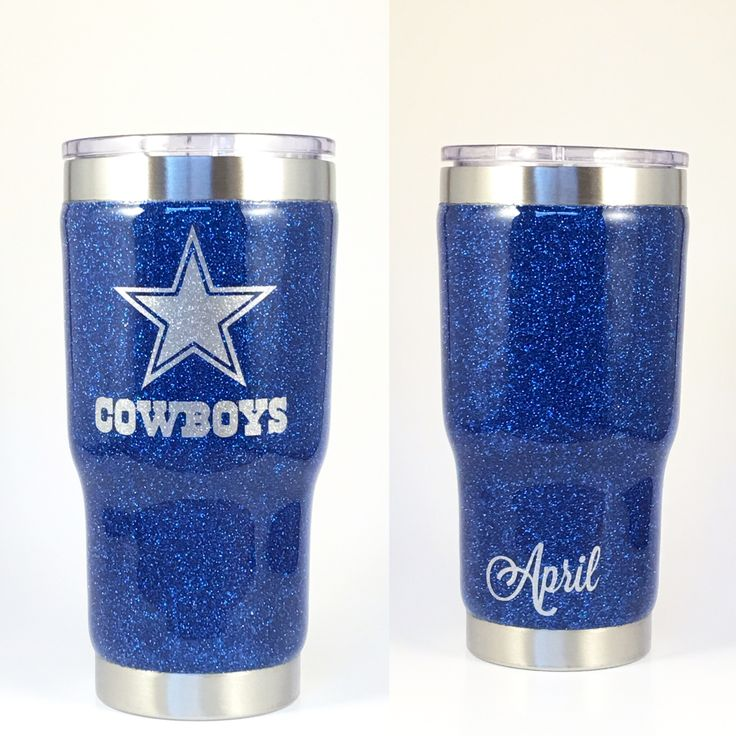 marine glittered 20 oz rtic with a cowboys logo and custom name decal