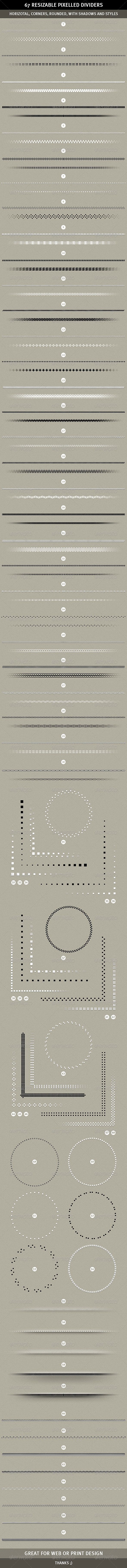67 Pixelled Resizable Dividers - GraphicRiver Item for Sale