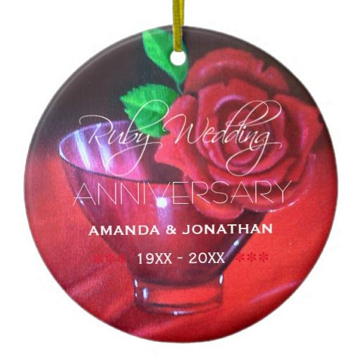 40th Ruby Wedding Anniversary Commemorative Double-Sided Ceramic Round Christmas Ornament