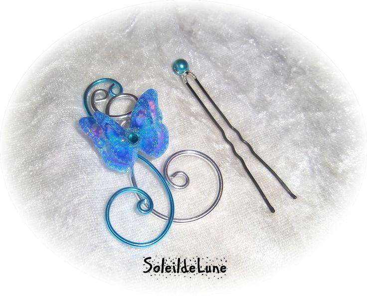 Pic chignon papillon bleu 3D ❀ Pic chignon Strass cristal turquoise Mariage Communion : Accessoires coiffure par soleildelune-bijoux-mariage